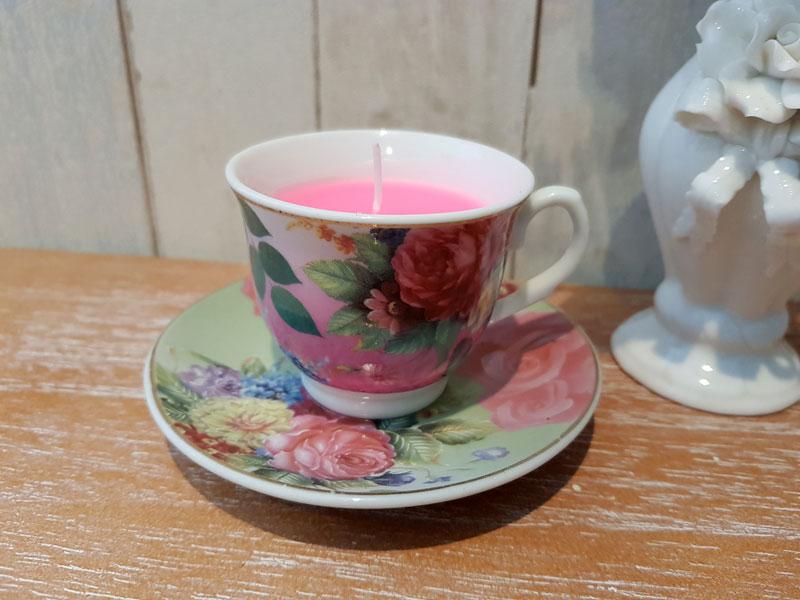 """Kerze """"Espresso Tasse"""" Rosen-Motive Keramik"""