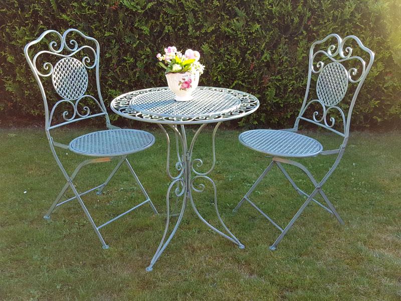 Garten Bistro Tisch-Gruppe 3er Set antik grün