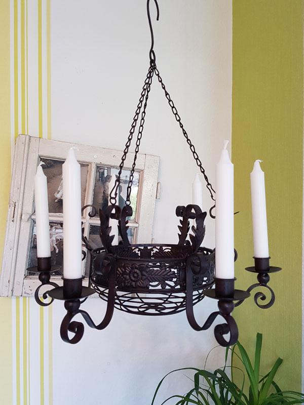 Hänge-Kerzenleuchter mit Korb Hängeleuchter antik Metall