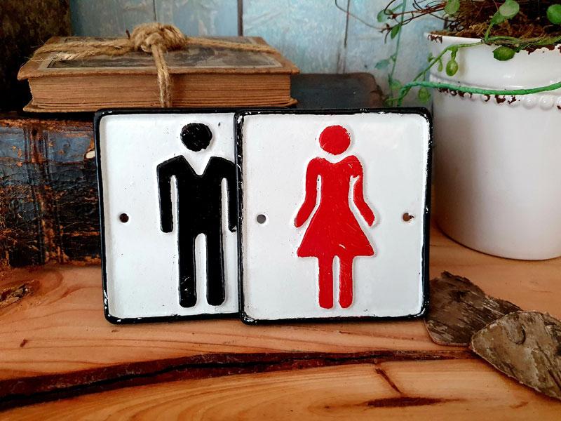 """Antik wirkendes Schild """"WC Damen"""" Gusseisen"""
