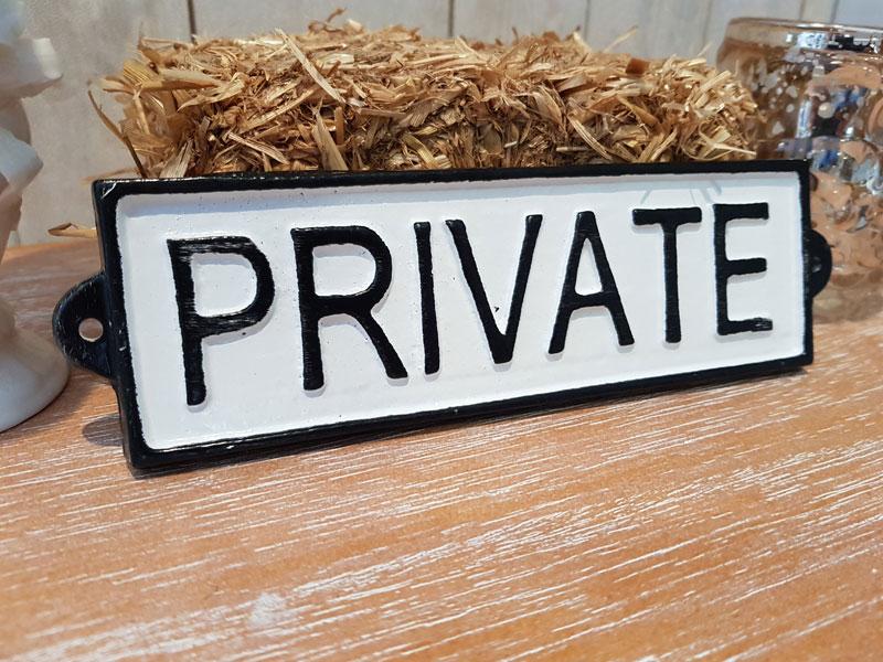 """Antik wirkendes Schild """"Private"""" Gusseisen"""