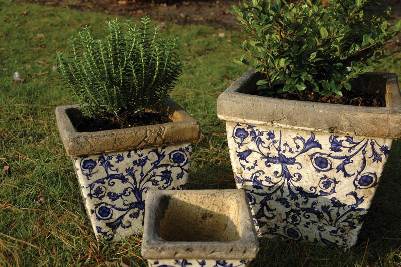 """Keramik Pflanztöpfe """"Barockmuster"""" in 3 Größen"""