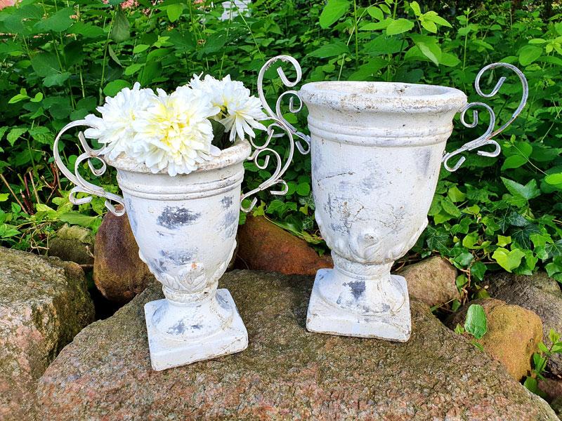 Keramik Amphoren in 2 Größen altweiß Steingut