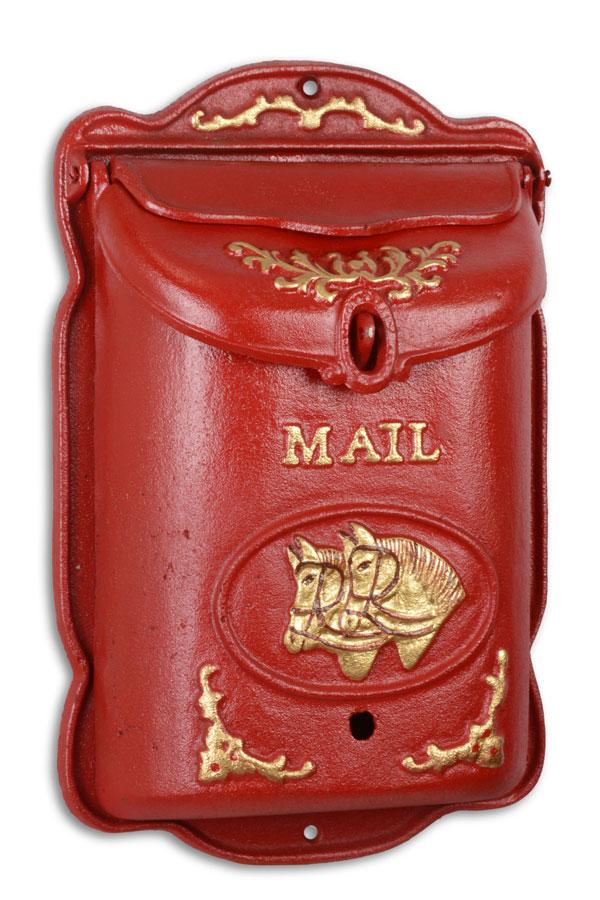 """Briefkasten Gusseisen """"Pferde"""" englisch rot """"Mail"""""""