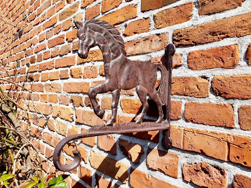 """Bezaubernde Wandhalterung """"Pferd"""" Gusseisen"""