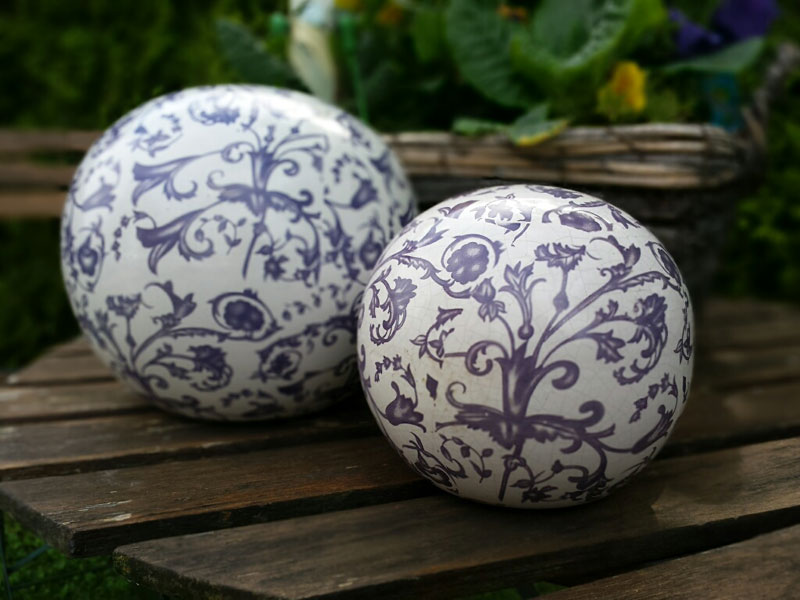 "Keramik Gartenkugel 12cm Ø ""Barockmuster"""